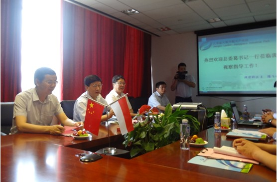 Jianhu County Party Secretary Ge Qifa in July 13th to Jiangsu Blue Sky Aviation Industrial Park Shanghai branch inspection guidance